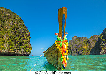 Phi-Phi Island Baya Bay - Long Tail Boat, traditional wooden...