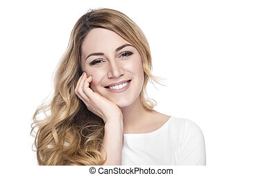 Portrait of smiling woman blond. - Portrait of smiling woman...