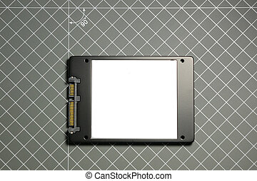 SSD solid state drive seen from above - SSD Solid state...
