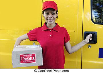 entrega, mensajero, o, cartero, entregar, postal, Paquetes