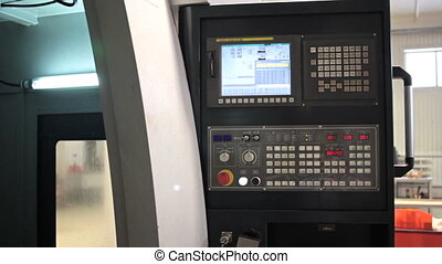 Control Panel CNC. Machine milling, drilling steel part....