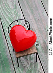 heart on small chair - heart on small toy chair, grunge wood...