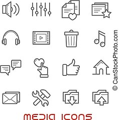 Multimedia and media thin line icons - Thin line style...