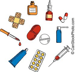Pills, drugs and medication icons
