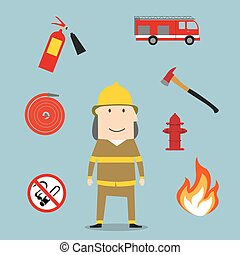 Powerful fireman with fire fighting tools - Firefighter...