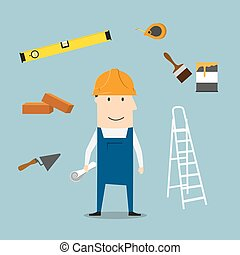 Builder or engineer with tools and equipment