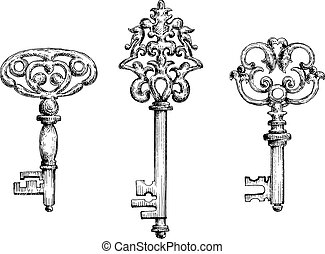 Old vintage key skeletons set Vector sketch style Isolated...
