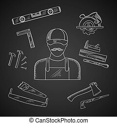 Carpenter and toolbox tools icons - Carpenter and toolbox...