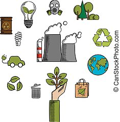 Environment and ecological conservation icons