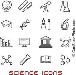 Ciencia, línea, educación, delgado, iconos