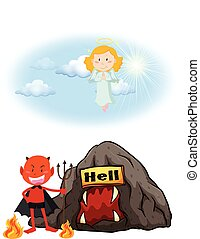 Angel in heaven and devil in hell illustration