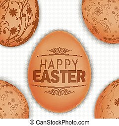 Easter brown eggs background