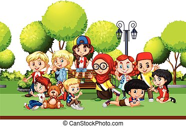 Children from different countries in the park illustration