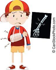 Sad boy with broken arm