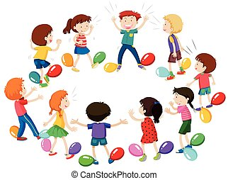 Children playing game of balloon popping illustration