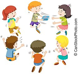 Group of kids passing present box illustration