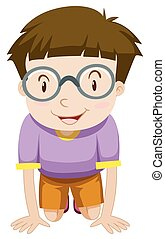 Boy with glasses kneeling down illustration