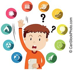 Boy asking questions about school work illustration