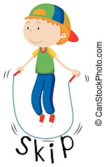Little boy with rope skipping illustration