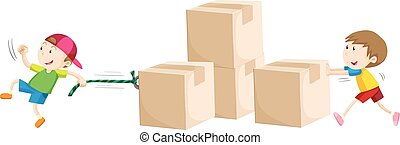 Boys pulling and pushing boxes illustration