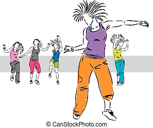 zumba dancers group illustration B