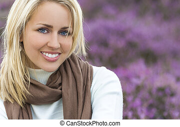 Beautiful Blond Woman Girl In Heather - A naturally...