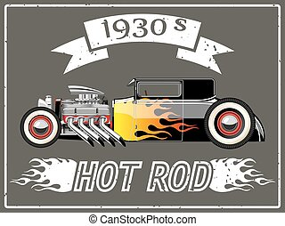Hot rod car - A vector illustration of a vintage hot rod.