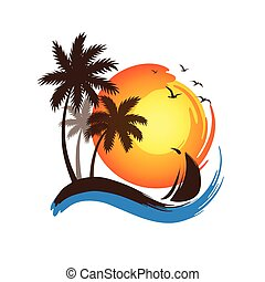 Palm trees sunset - Tropical palm trees silhouettes and...