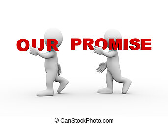 3d people word text our promise - 3d illustration of walking...