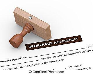 3d rubber stamp on brokerage agreement - 3d illustration of...