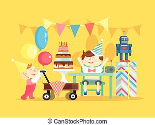 Children birthday Vector flat illustration