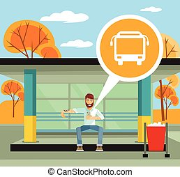 Man on the bus station using mobile app. Vector flat...