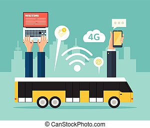 City bus with wi-fi. Vector flat illustration