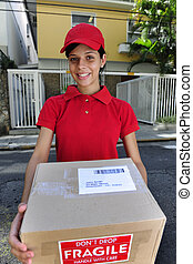 delivery courier delivering package - young delivery courier...