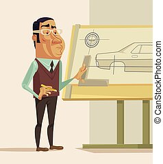 Construction engineer. Vector flat illustration