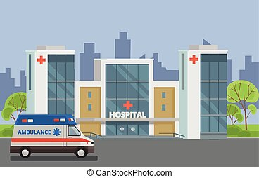 Hospital building Vector flat illustration