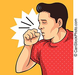 Coughing man. Vector flat illustration