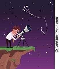Man looks through a telescope