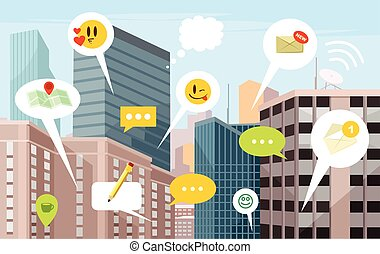 City social network. Vector flat illustration