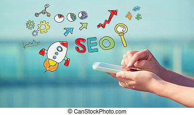 SEO concept with smartphone - SEO concept with person...