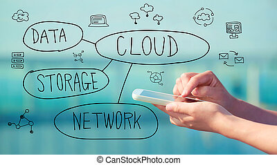 Cloud Computing concept with smartphone