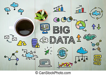 Big Data concept with a cup of coffee on a pastel green...