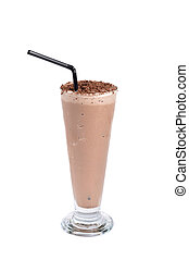chocolate milkshake drink on white background