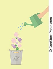 Hand watering flower in pot. Flat style design