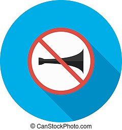 No horn zone - No, horn, sign icon vector image Can also be...