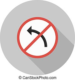 No left turn - Sign, left, turn icon vector image Can also...