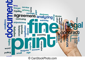 Fine print word cloud concept