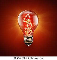 fire flower inside light bulb - light bulb with fire flower...