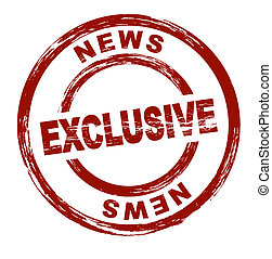 Exclusive News - A stylized red stamp that shows the term...