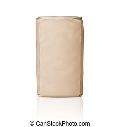 Blank paper sugar bag. - Blank brown paper bag for powder,...